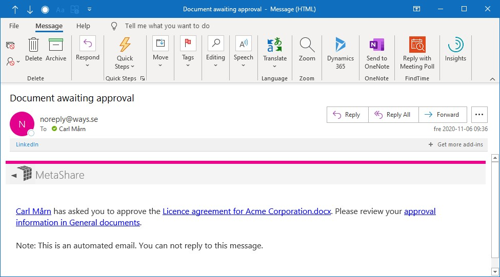 Approval e-mail notification