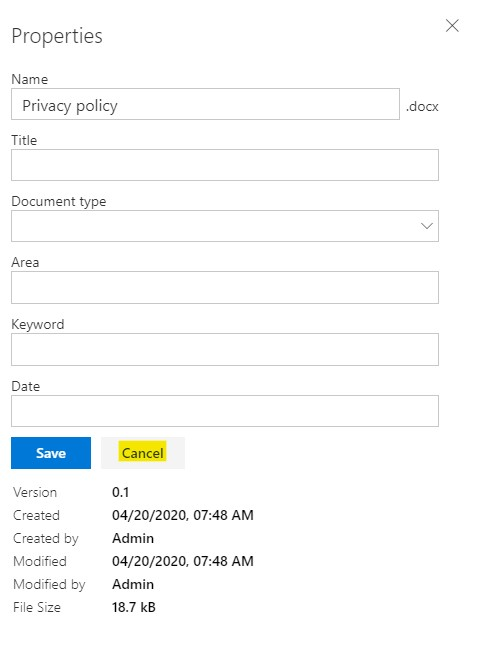 Cancel button shown in property forms