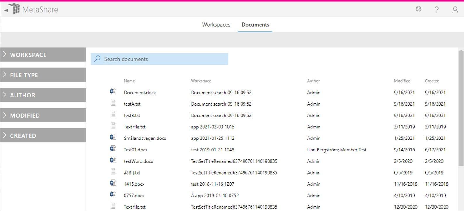 MetaShare's new document tab