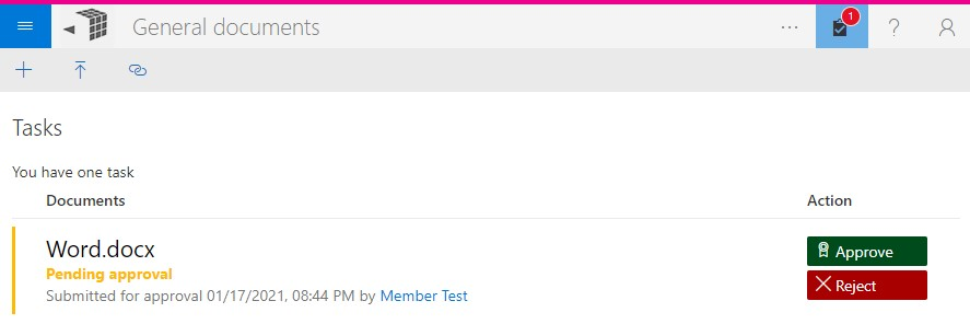 Pending approval message in MetaShare's task page