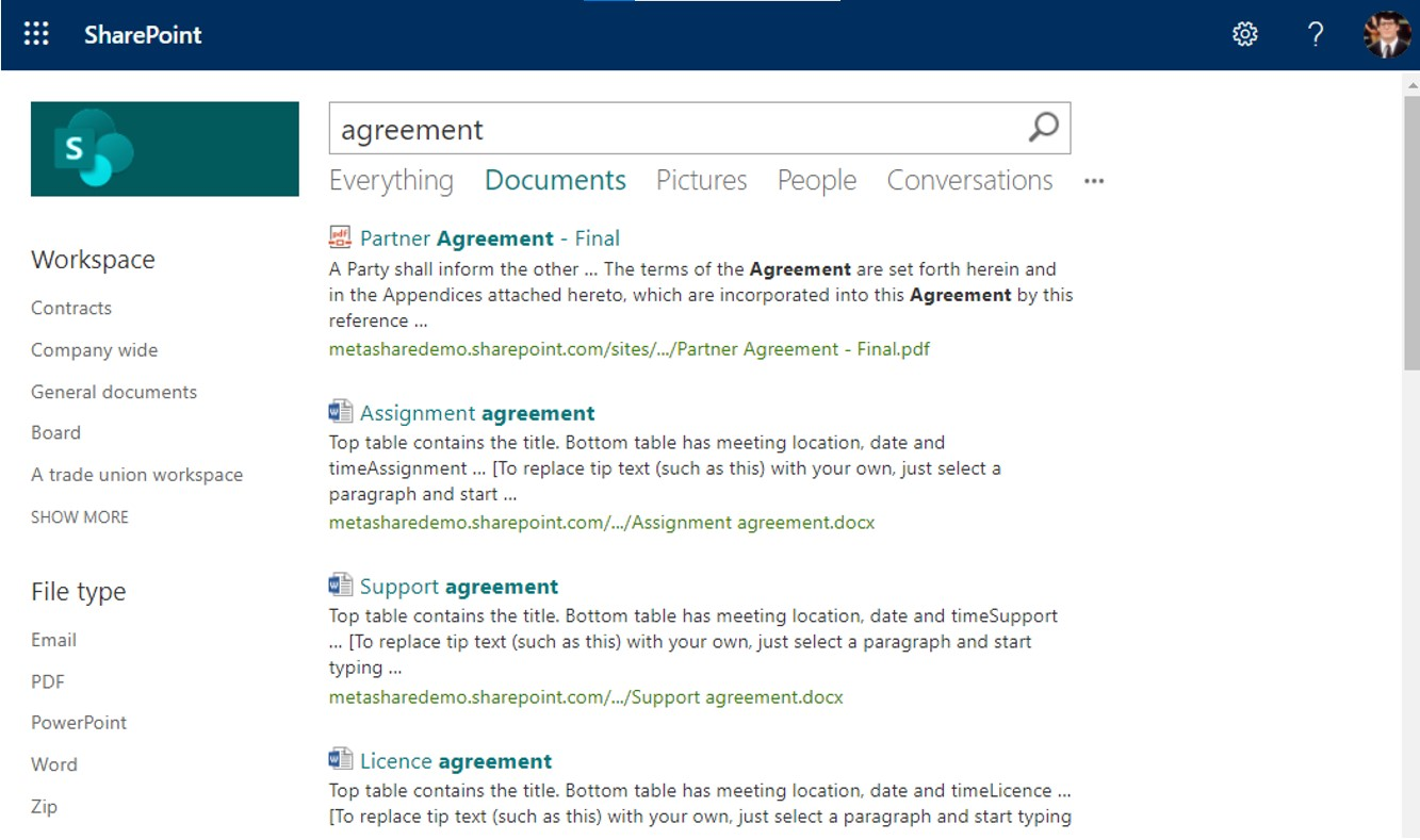 Search results in standard SharePoint