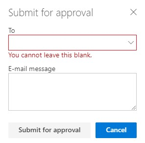 The submit for approval dialog