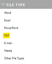 PDF as an option in the workspaces' file type filter