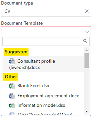 MetaShare's suggested document templates function