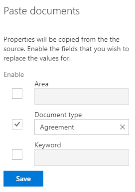 Pasting documents in a workspace