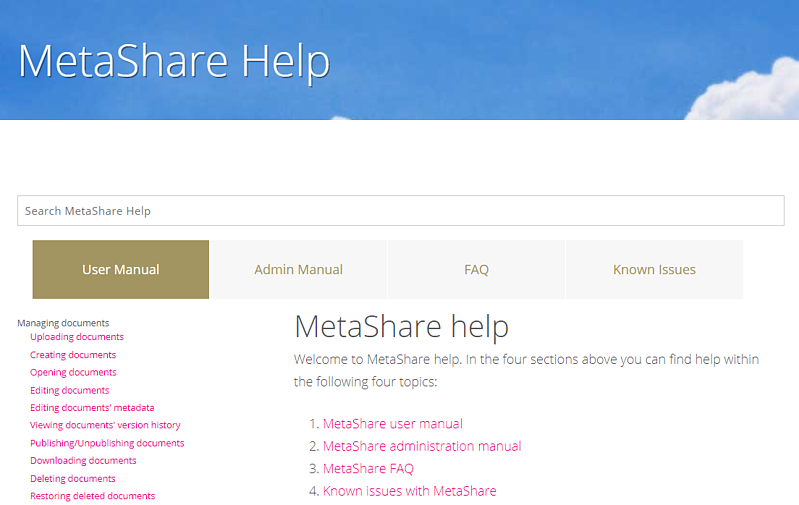 Pages under MetaShare Help