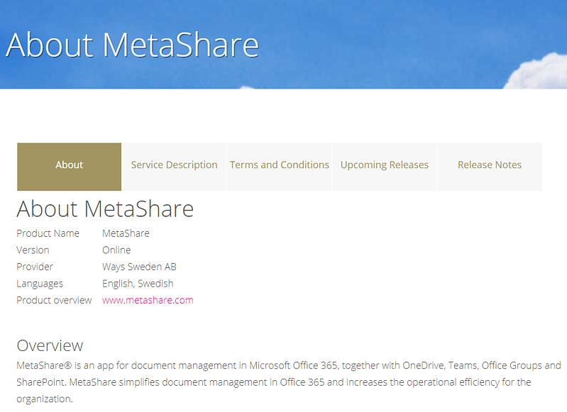 Pages under About MetaShare