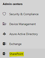 The link to SharePoint's admin center