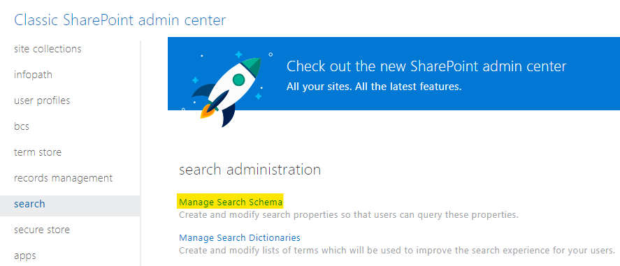 "Link to the ""Manage Search Schema"""