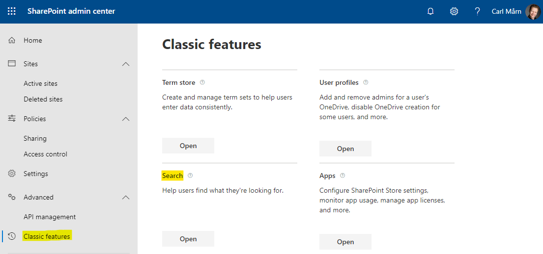 Search settings in SharePoint's Modern admin center