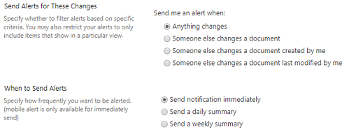 Define when to get e-mail notifications