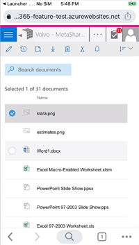 Increased space between documents on mobile devices